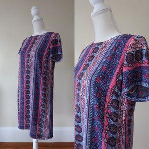 CeCe Printed Shift Dress, Blue/Pink, Size 8